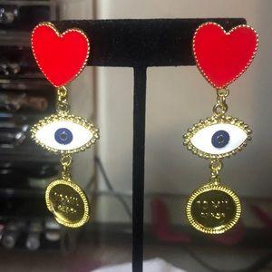 Red Heart & Gold Evil Eye Chandelier Earrings